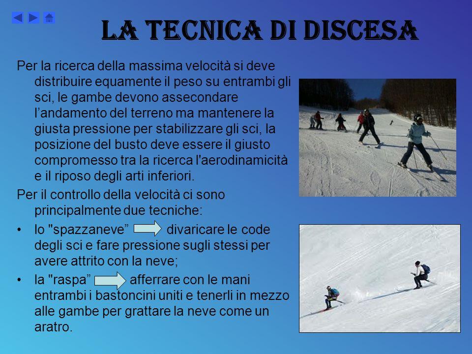 ATTREZZATURE… Per la pratica dello sport dello sci di fondo si usano sci privi di lamine e di una larghezza media di 4,5 centimetri attaccati con scarpette particolari, che si fissano solo in punta, consentendo al tallone di sollevarsi liberamente.