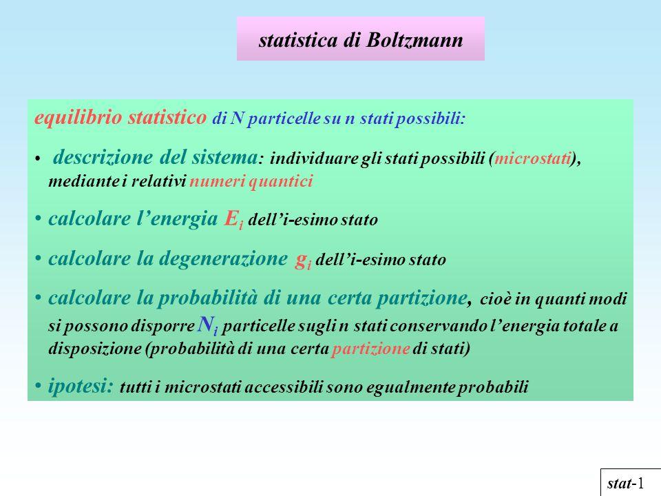 statistica di Boltzmann stat-1 equilibrio statistico di N particelle su n stati possibili: descrizione del sistema : individuare gli stati possibili (