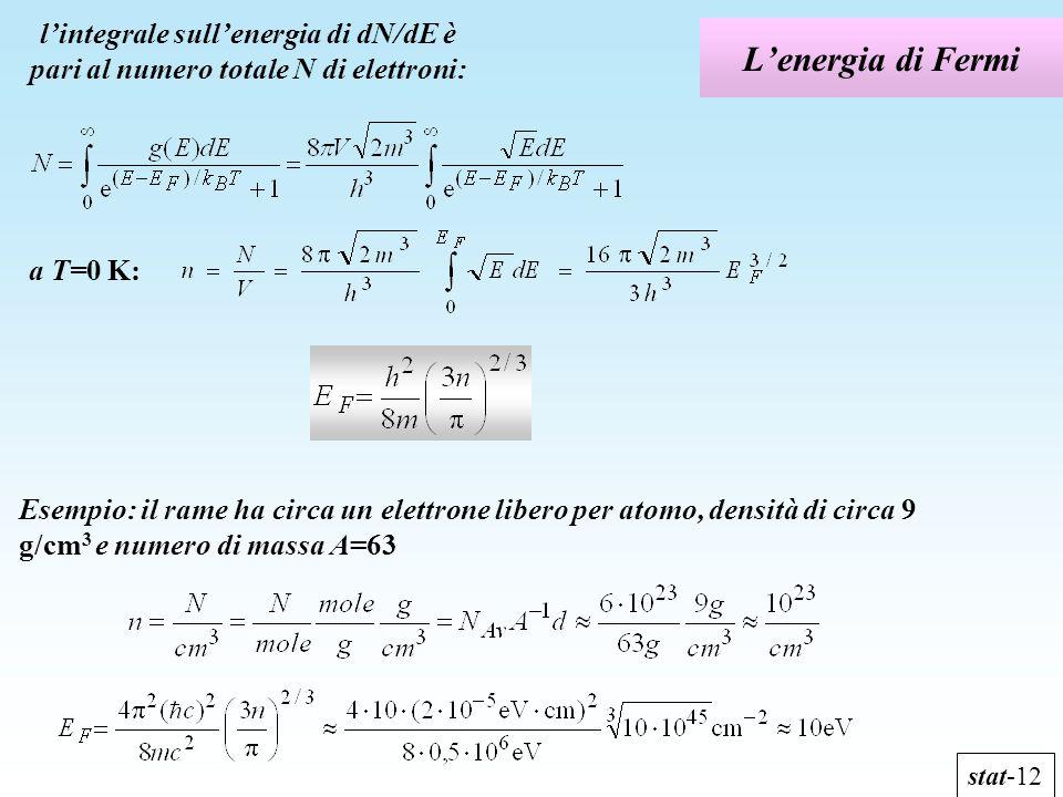 Lenergia di Fermi stat-12 lintegrale sullenergia di dN/dE è pari al numero totale N di elettroni: a T=0 K: Esempio: il rame ha circa un elettrone libe
