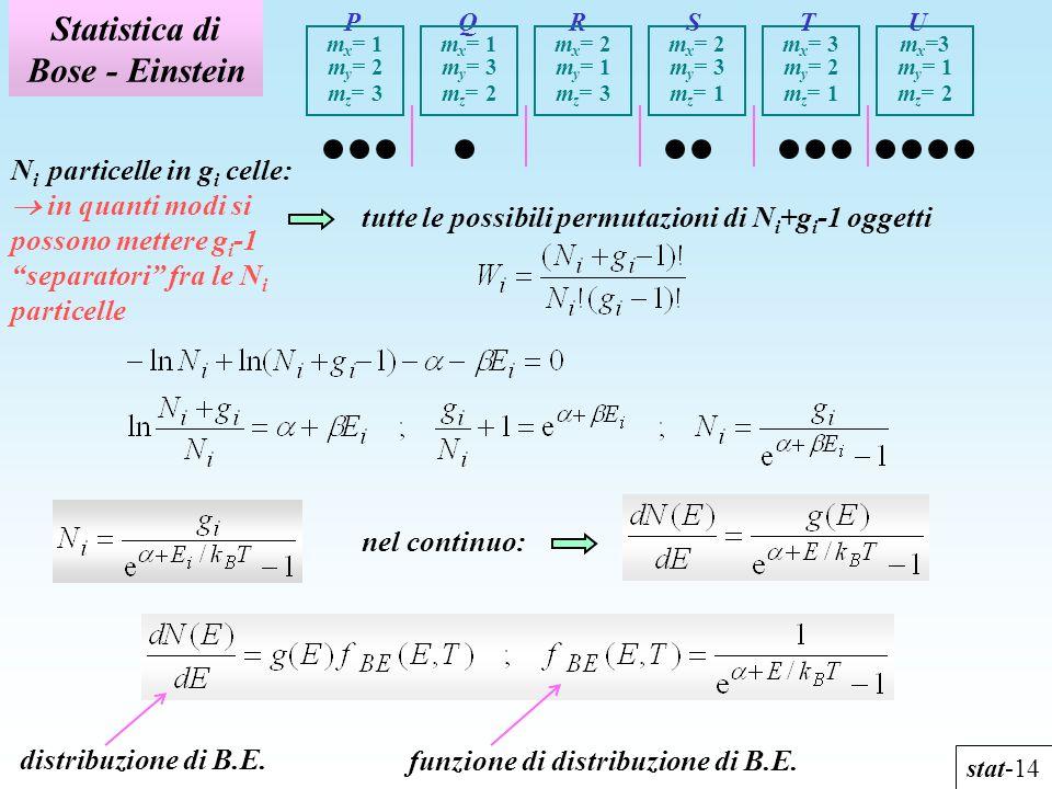 Statistica di Bose - Einstein stat-14 N i particelle in g i celle: in quanti modi si possono mettere g i -1 separatori fra le N i particelle P Q R m x