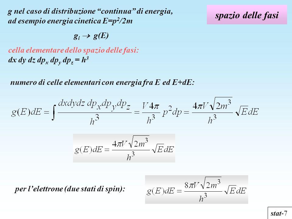 spazio delle fasi stat-7 g nel caso di distribuzione continua di energia, ad esempio energia cinetica E=p 2 /2m g i g(E) cella elementare dello spazio