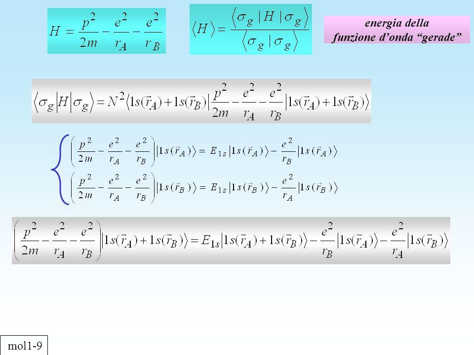 energia della funzione donda gerade mol1-9