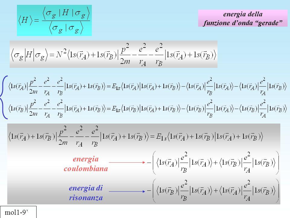energia della funzione donda gerade mol1-9 energia coulombiana energia di risonanza