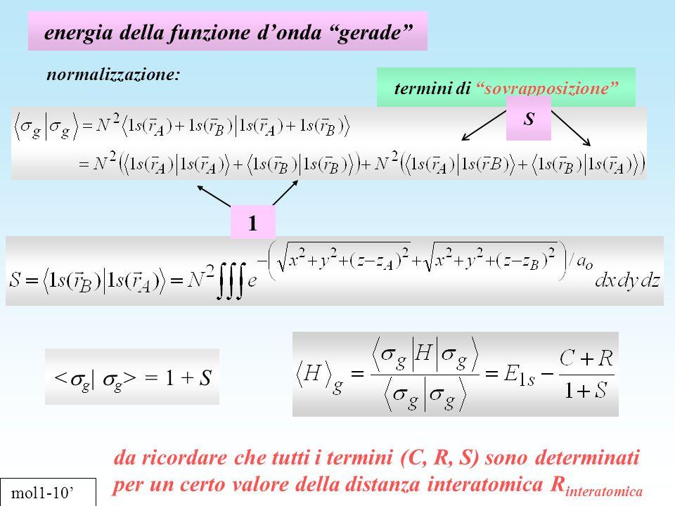 energia della funzione donda gerade mol1-10 normalizzazione: = 1 + S termini di sovrapposizione S 1 da ricordare che tutti i termini (C, R, S) sono de