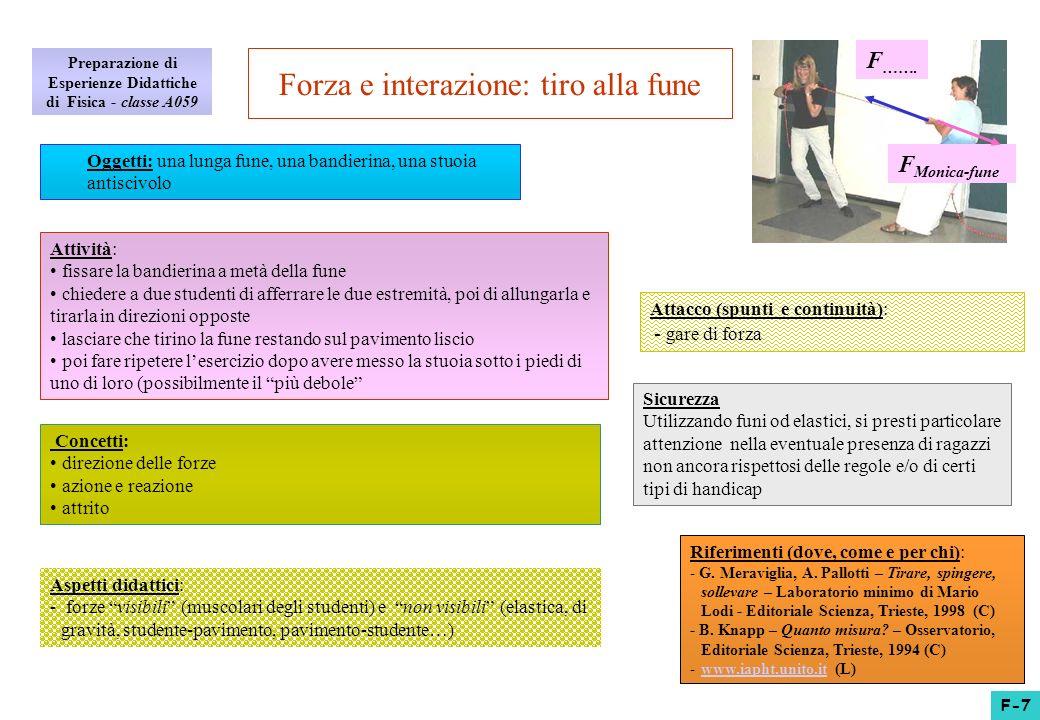 Aspetti didattici: - forze visibili (muscolari degli studenti) e non visibili (elastica, di gravità, studente-pavimento, pavimento-studente…) Forza e