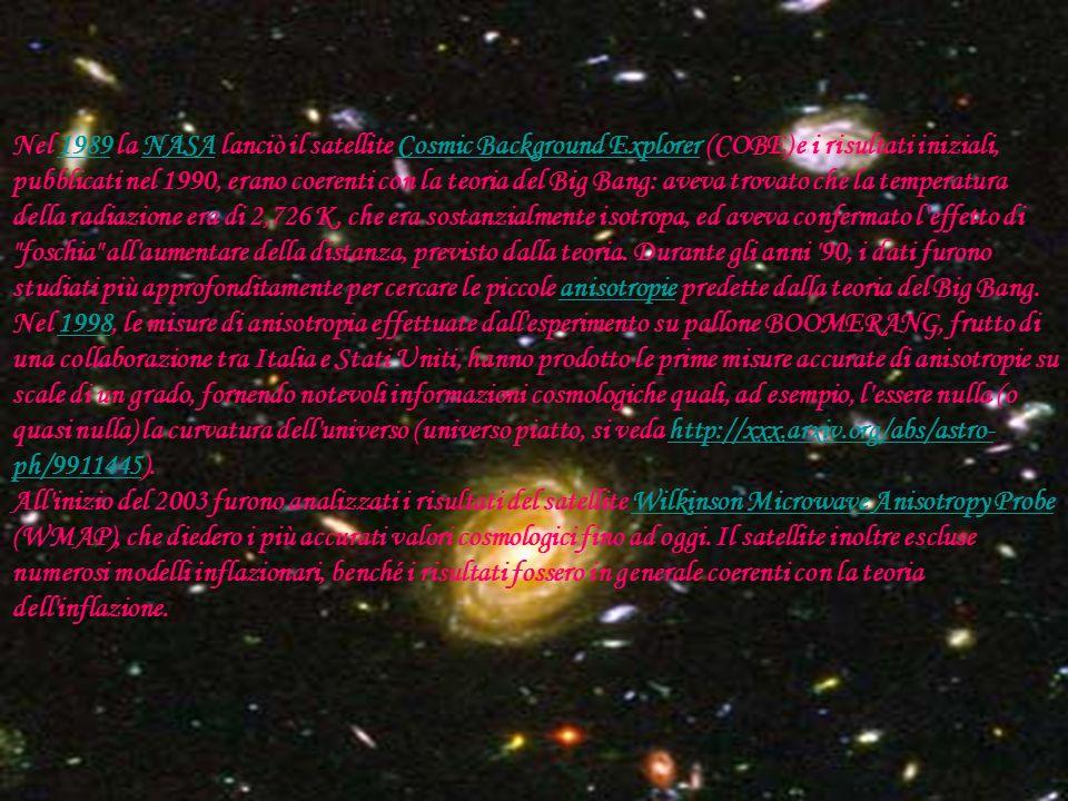 Nel 1989 la NASA lanciò il satellite Cosmic Background Explorer (COBE) e i risultati iniziali, pubblicati nel 1990, erano coerenti con la teoria del Big Bang: aveva trovato che la temperatura della radiazione era di 2,726 K, che era sostanzialmente isotropa, ed aveva confermato l effetto di foschia all aumentare della distanza, previsto dalla teoria.