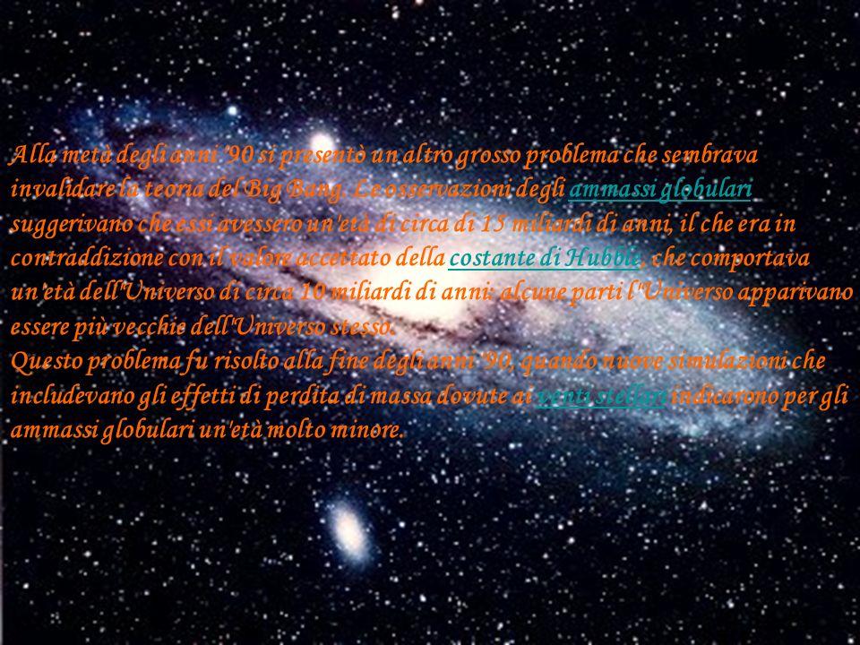 Alla metà degli anni 90 si presentò un altro grosso problema che sembrava invalidare la teoria del Big Bang.