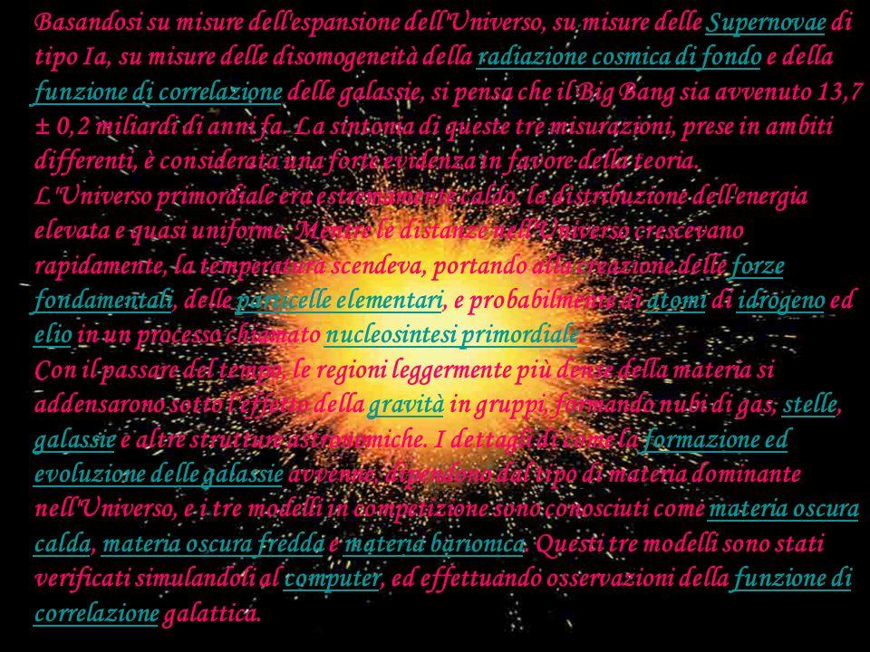 C:\Documents and Settings\Postazione Alunno\Desktop\CER N\big-bang.jpgC:\Documents and Settings\Postazione Alunno\Desktop\CER N\big-bang.jpg Basandosi su misure dell espansione dell Universo, su misure delle Supernovae di tipo Ia, su misure delle disomogeneità della radiazione cosmica di fondo e della funzione di correlazione delle galassie, si pensa che il Big Bang sia avvenuto 13,7 ± 0,2 miliardi di anni fa.