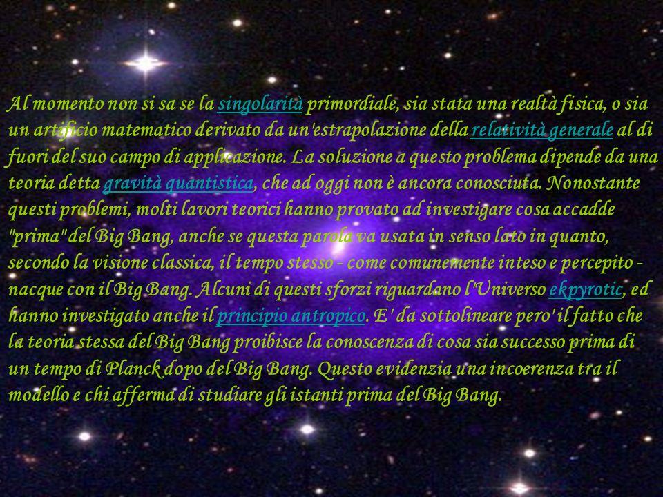 Al momento non si sa se la singolarità primordiale, sia stata una realtà fisica, o sia un artificio matematico derivato da un estrapolazione della relatività generale al di fuori del suo campo di applicazione.