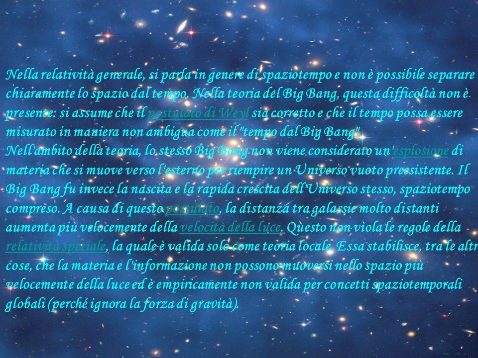 Nella relatività generale, si parla in genere di spaziotempo e non è possibile separare chiaramente lo spazio dal tempo.