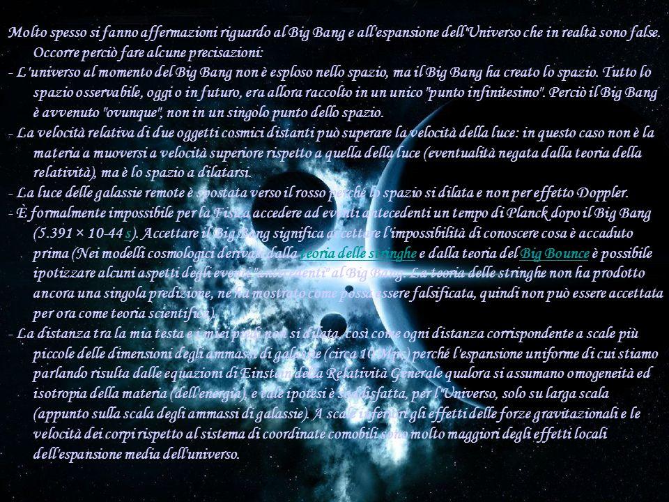 Molto spesso si fanno affermazioni riguardo al Big Bang e all espansione dell Universo che in realtà sono false.