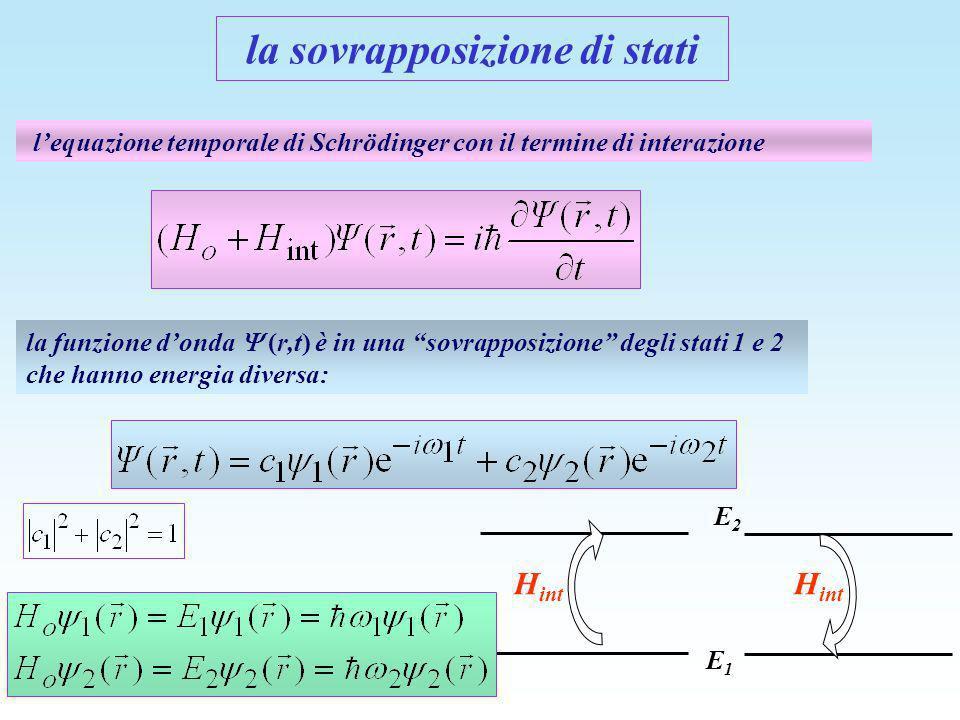 E1E1 E2E2 lequazione temporale di Schrödinger con il termine di interazione la funzione donda (r,t) è in una sovrapposizione degli stati 1 e 2 che han
