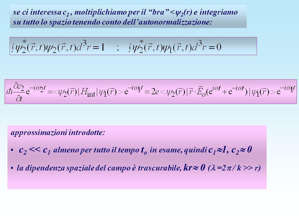 se ci interessa c 2, moltiplichiamo per il bra < 2 (r) e integriamo su tutto lo spazio tenendo conto dellautonormalizzazione: approssimazioni introdot