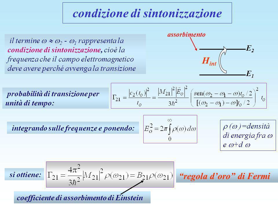 il termine 2 - 1 rappresenta la condizione di sintonizzazione, cioè la frequenza che il campo elettromagnetico deve avere perché avvenga la transizion