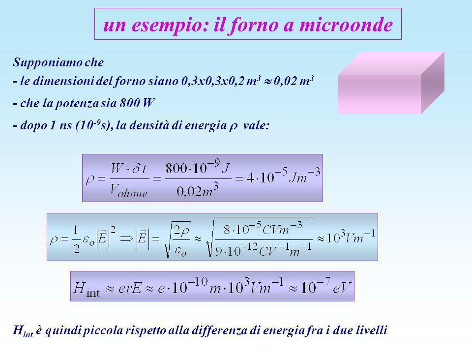 un esempio: il forno a microonde Supponiamo che - le dimensioni del forno siano 0,3x0,3x0,2 m 3 0,02 m 3 - che la potenza sia 800 W - dopo 1 ns (10 -9