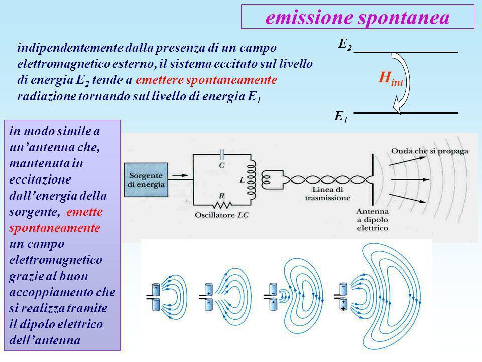 emissione spontanea indipendentemente dalla presenza di un campo elettromagnetico esterno, il sistema eccitato sul livello di energia E 2 tende a emet
