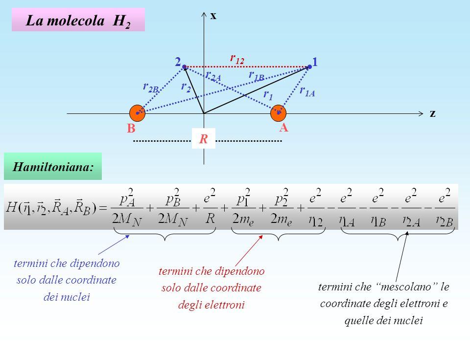 La molecola H 2 Approssimazione di Born-Oppenheimer: data la grossa differenza fra la massa dellelettrone e quella dei nuclei, è lecito trascurare la variazione delle posizioni dei nuclei nella soluzione del moto degli elettroni e risolvere lequazione con una funzione donda prodotto della funzione donda nucleare per una funzione donda elettronica con i nuclei fermi a una distanza R.