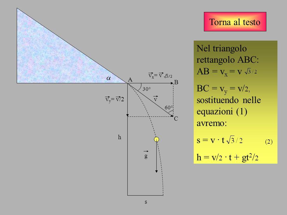Torna al testo v v x = v v y = v/2 g Inserendo i dati iniziali, S= 0,50 m., h = 1,00 m, ricavan- do il tempo dalla prima delle (2) e sostituendo nella seconda, si avrà la soluzione: v = 1,53 m/s h s 30° 60° A C B