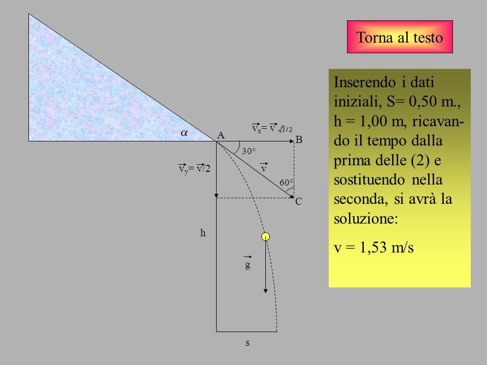 Torna al testo v v x = v v y = v/2 g Inserendo i dati iniziali, S= 0,50 m., h = 1,00 m, ricavan- do il tempo dalla prima delle (2) e sostituendo nella