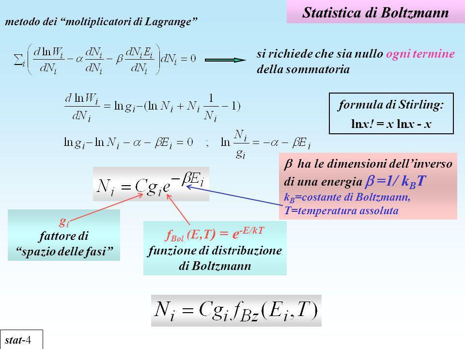 Statistica di Boltzmann stat-4 metodo dei moltiplicatori di Lagrange formula di Stirling: lnx! = x lnx - x ha le dimensioni dellinverso di una energia