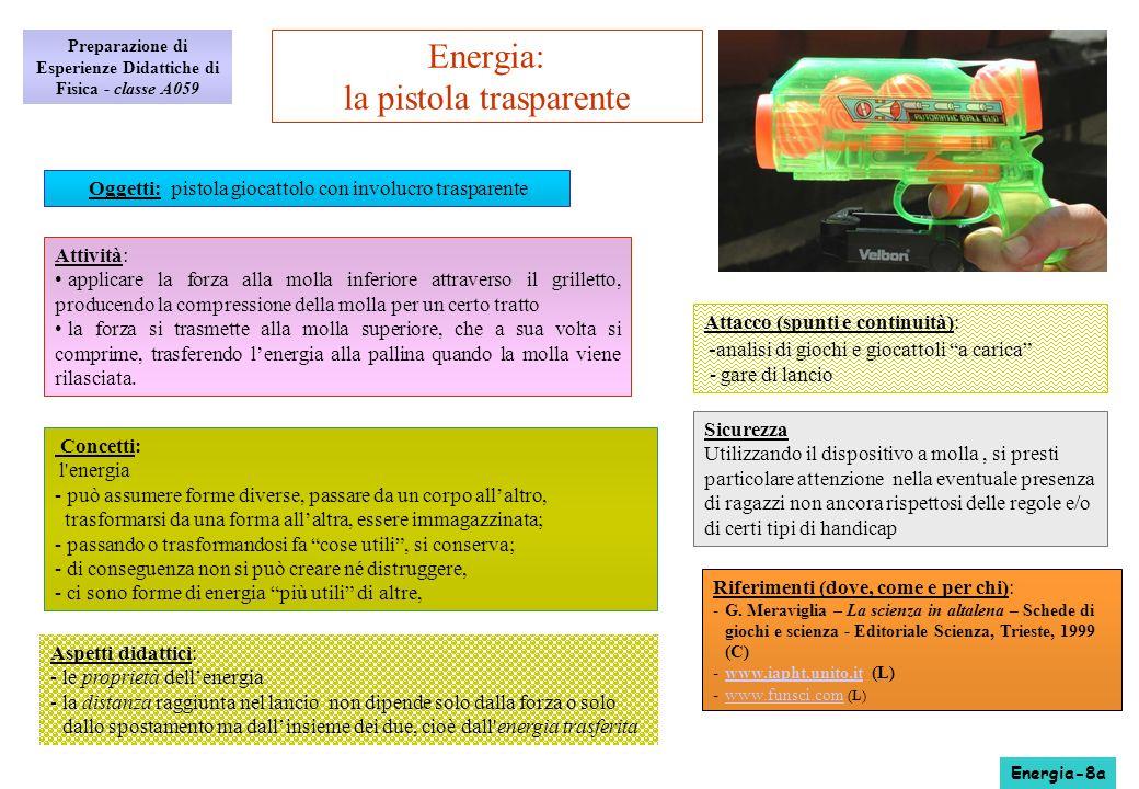 Aspetti didattici: -le proprietà dellenergia -la distanza raggiunta nel lancio non dipende solo dalla forza o solo dallo spostamento ma dallinsieme de
