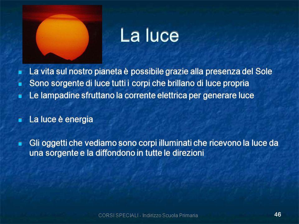 CORSI SPECIALI - Indirizzo Scuola Primaria 46 La luce La vita sul nostro pianeta è possibile grazie alla presenza del Sole Sono sorgente di luce tutti