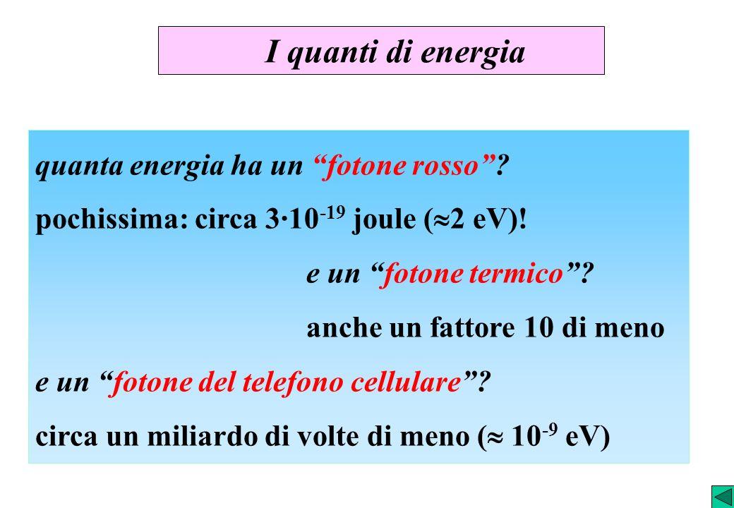 I quanti di energia quanta energia ha un fotone rosso? pochissima: circa 3·10 -19 joule ( 2 eV)! e un fotone termico? anche un fattore 10 di meno e un