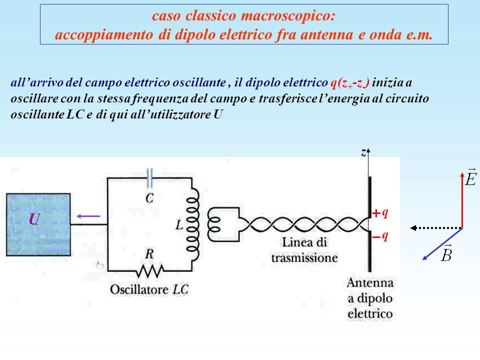 caso classico macroscopico: accoppiamento di dipolo elettrico fra antenna e onda e.m. allarrivo del campo elettrico oscillante, il dipolo elettrico q(