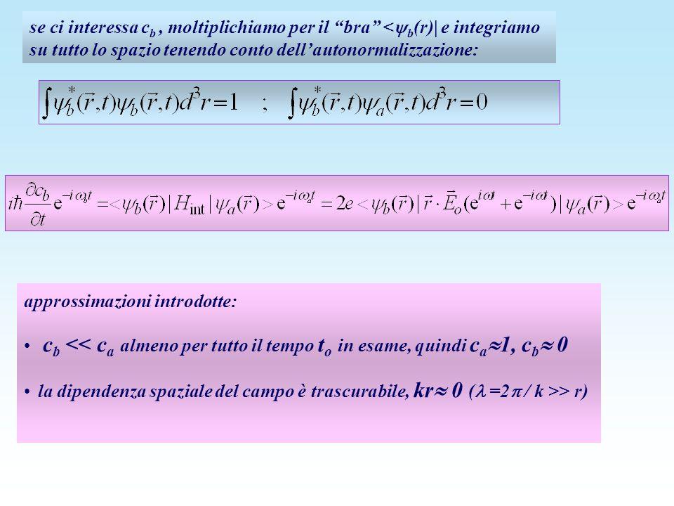 se ci interessa c b, moltiplichiamo per il bra < b (r)| e integriamo su tutto lo spazio tenendo conto dellautonormalizzazione: approssimazioni introdo
