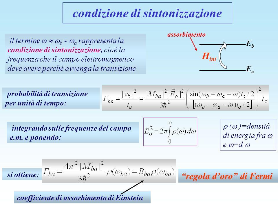 il termine b - a rappresenta la condizione di sintonizzazione, cioè la frequenza che il campo elettromagnetico deve avere perché avvenga la transizion