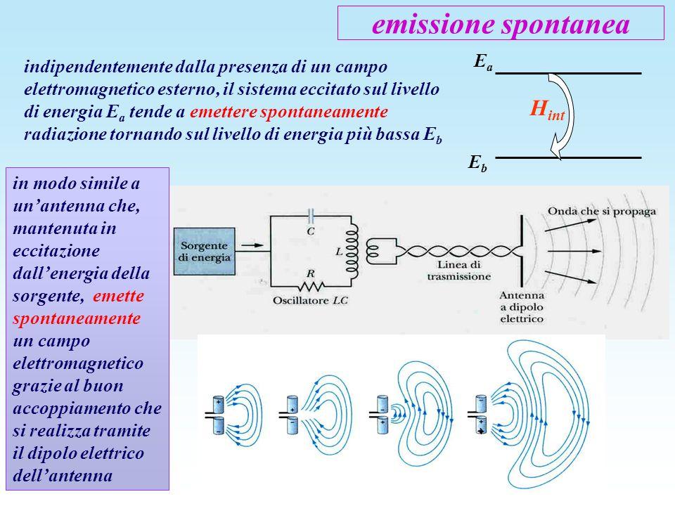 emissione spontanea indipendentemente dalla presenza di un campo elettromagnetico esterno, il sistema eccitato sul livello di energia E a tende a emet
