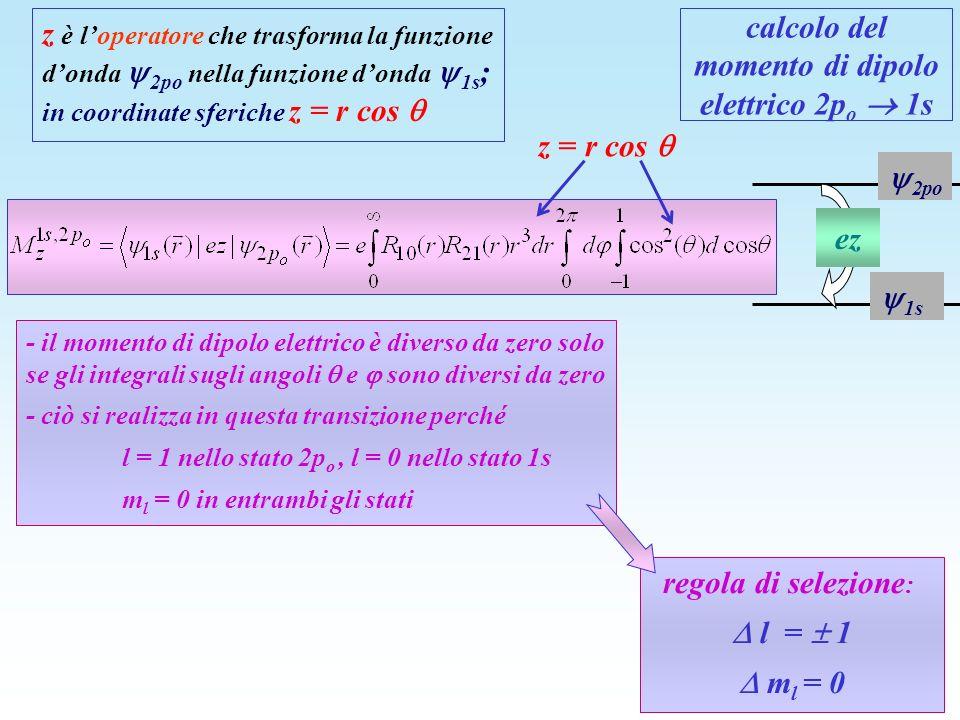 calcolo del momento di dipolo elettrico 2p o 1s z è loperatore che trasforma la funzione donda 2po nella funzione donda 1s ; in coordinate sferiche z
