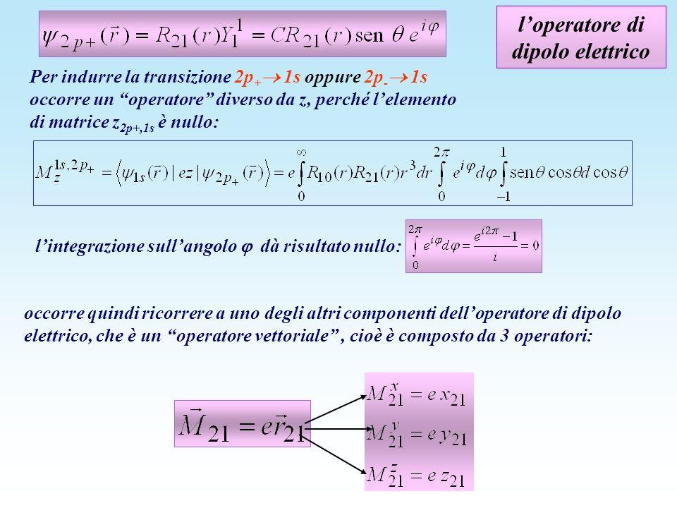 loperatore di dipolo elettrico occorre quindi ricorrere a uno degli altri componenti delloperatore di dipolo elettrico, che è un operatore vettoriale,