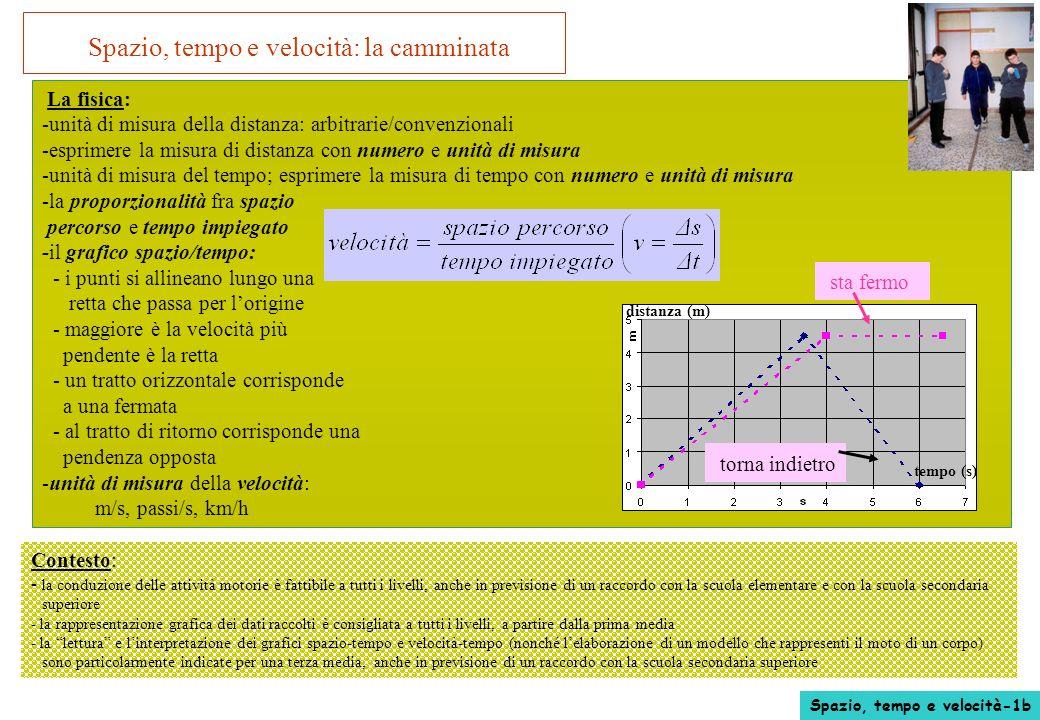 Spazio, tempo e velocità: la camminata La fisica: -unità di misura della distanza: arbitrarie/convenzionali -esprimere la misura di distanza con numer