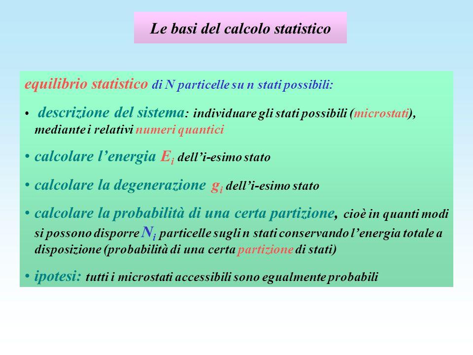 Statistica di Fermi - Dirac N i particelle in g i celle: N i celle piene, (g i -N i ) celle vuote P Q R m x = 1 m y = 2 m z = 3 m x = 1 m y = 3 m z = 2 m x = 2 m y = 1 m z = 3 m x = 2 m y = 3 m z = 1 m x = 3 m y = 2 m z = 1 m x =3 m y = 1 m z = 2 S T U