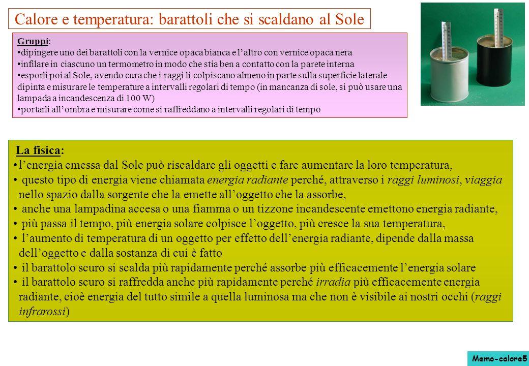 Calore e temperatura: barattoli che si scaldano al Sole La fisica: lenergia emessa dal Sole può riscaldare gli oggetti e fare aumentare la loro temper