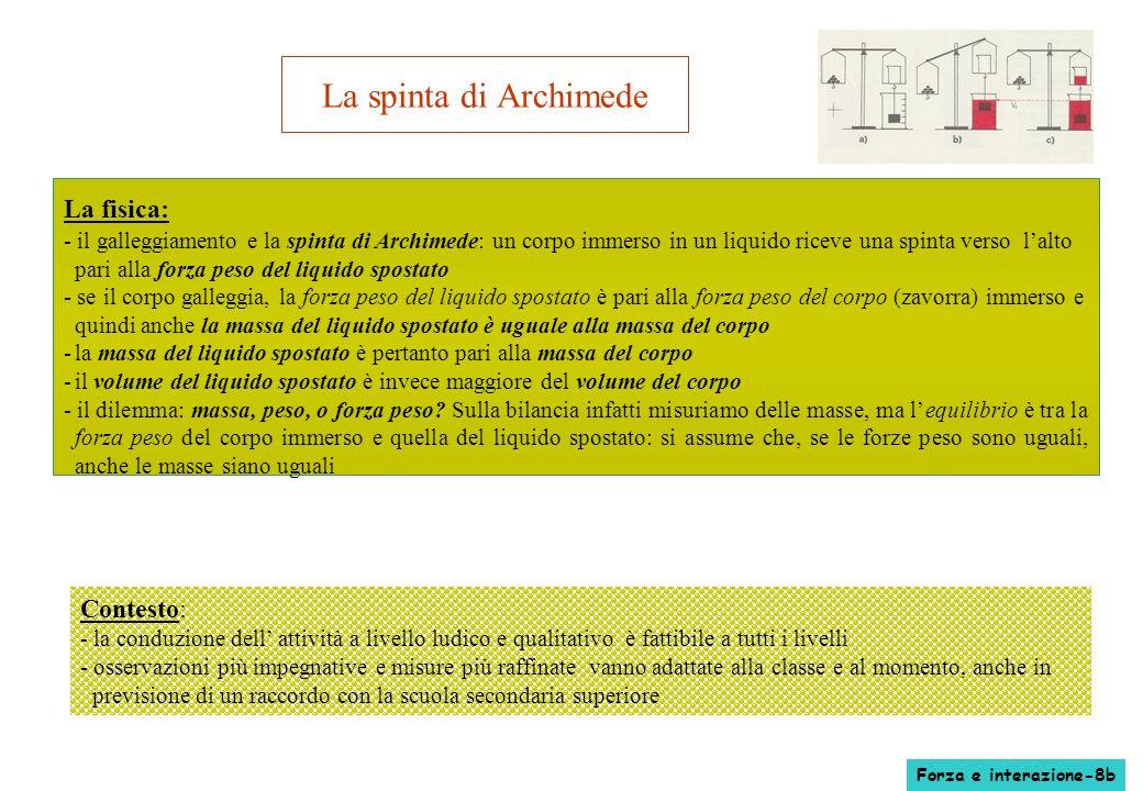 La spinta di Archimede La fisica: - il galleggiamento e la spinta di Archimede: un corpo immerso in un liquido riceve una spinta verso lalto pari alla