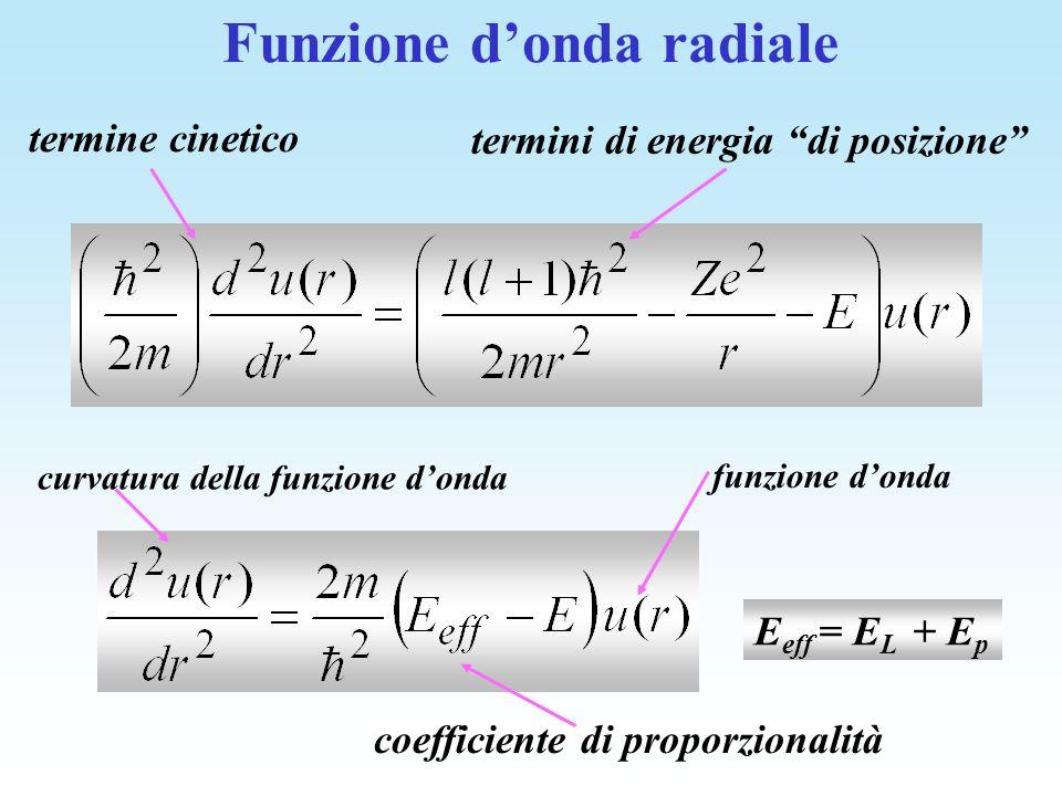 E eff = E L + E p coefficiente di proporzionalità curvatura della funzione donda funzione donda termine cinetico termini di energia di posizione Funzi