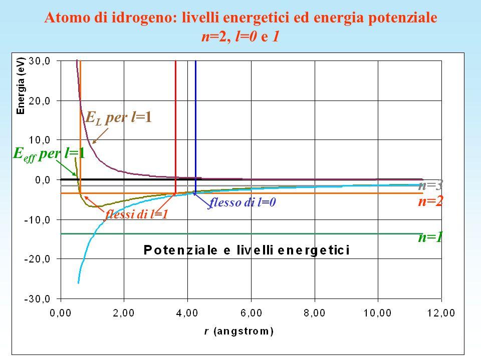n=2, l=0 n=2, l=1 Atomo di idrogeno: livelli energetici ed energia potenziale n=2, l=0 e 1 n=2 E L per l=1 E eff per l=1 flessi di l=1 flesso di l=0 n