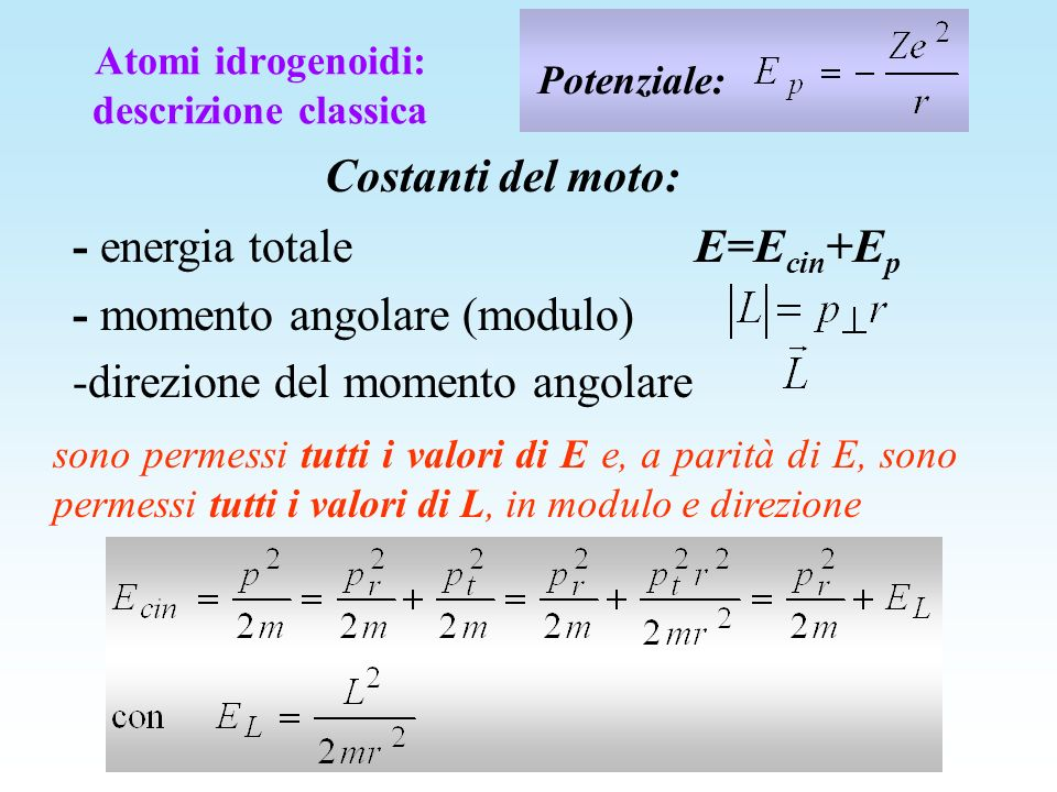 sono permessi tutti i valori di E e, a parità di E, sono permessi tutti i valori di L, in modulo e direzione Potenziale: Costanti del moto: - energia