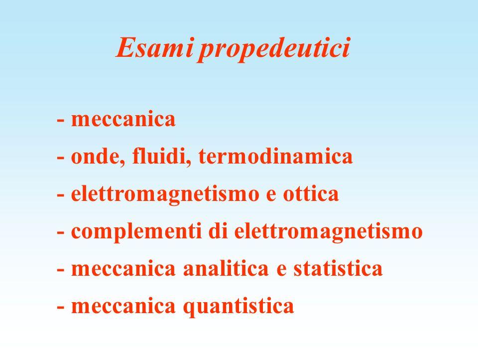 Esami propedeutici - meccanica - onde, fluidi, termodinamica - elettromagnetismo e ottica - complementi di elettromagnetismo - meccanica analitica e s