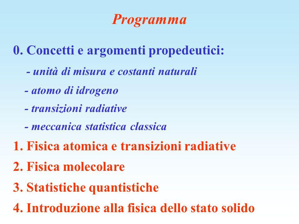 Programma 0. Concetti e argomenti propedeutici: - unità di misura e costanti naturali - atomo di idrogeno - transizioni radiative - meccanica statisti