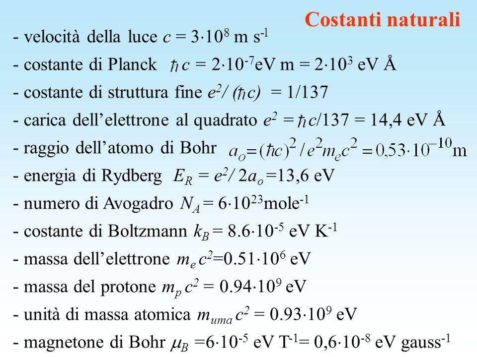 Costanti naturali - velocità della luce c = 3 10 8 m s -l - costante di Planck c = 2 10 -7 eV m = 2 10 3 eV Å - costante di struttura fine e 2 / ( c)