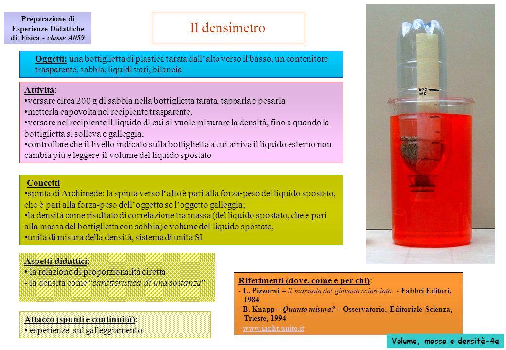 Il densimetro La fisica: - per calcolare la densità occorre conoscere massa e volume del liquido - il galleggiamento e la spinta di Archimede: un corpo immerso in un liquido riceve una spinta verso lalto pari alla forza peso del liquido spostato - se il corpo galleggia, la forza peso del liquido spostato è pari alla forza peso del corpo immerso e quindi anche la massa del liquido spostato è uguale alla massa del corpo - la massa del liquido spostato è pertanto pari alla massa della bottiglietta (che è nota perché misurata in precedenza), - il volume del liquido spostato si misura direttamente leggendolo sulla bottiglietta graduata, - la densità si calcola dal rapporto massa/volume: - unità di misura della densità: g/cm 3 - il dilemma: massa, peso, o forza peso.