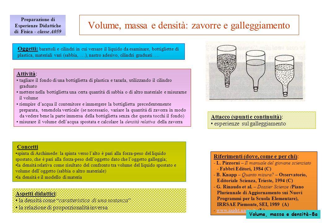 Aspetti didattici: la densità come caratteristica di una sostanza la relazione di proporzionalità inversa Volume, massa e densità: zavorre e galleggia
