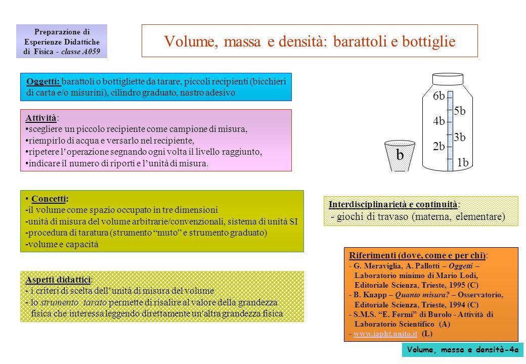 Volume, massa e densità: il densimetro La fisica: - per calcolare la densità occorre conoscere massa e volume del liquido - il galleggiamento e la spinta di Archimede: un corpo immerso in un liquido riceve una spinta verso lalto pari alla forza peso del liquido spostato - se il corpo galleggia, la forza peso del liquido spostato è pari alla forza peso del corpo immerso e quindi anche la massa del liquido spostato è uguale alla massa del corpo - la massa del liquido spostato è pertanto pari alla massa della bottiglietta che è stata misurata, - il volume del liquido spostato si misura direttamente leggendolo sulla bottiglietta graduata o sul recipiente tarato, - la densità si calcola dal rapporto massa/volume: - unità di misura della densità: g/cm 3 - il dilemma: massa, peso, o forza peso.