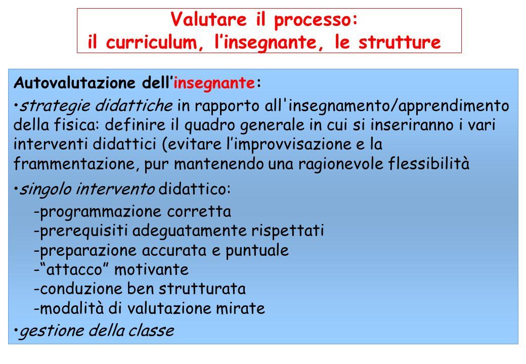 Valutare il processo: il curriculum, linsegnante, le strutture Autovalutazione dellinsegnante: strategie didattiche in rapporto all'insegnamento/appre