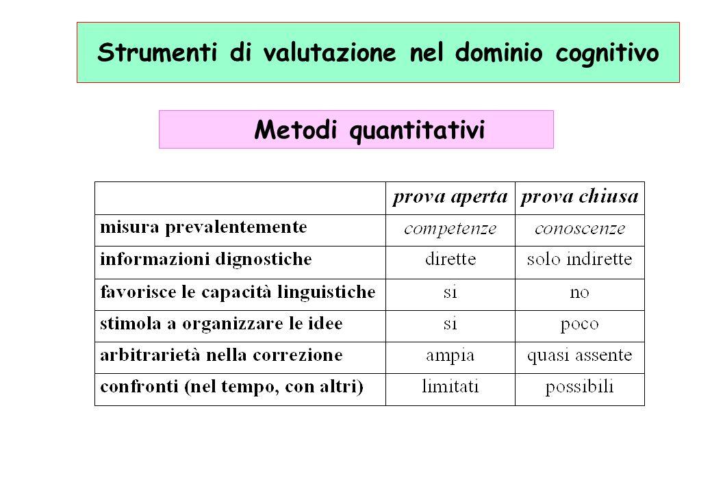 Strumenti di valutazione nel dominio cognitivo Metodi quantitativi