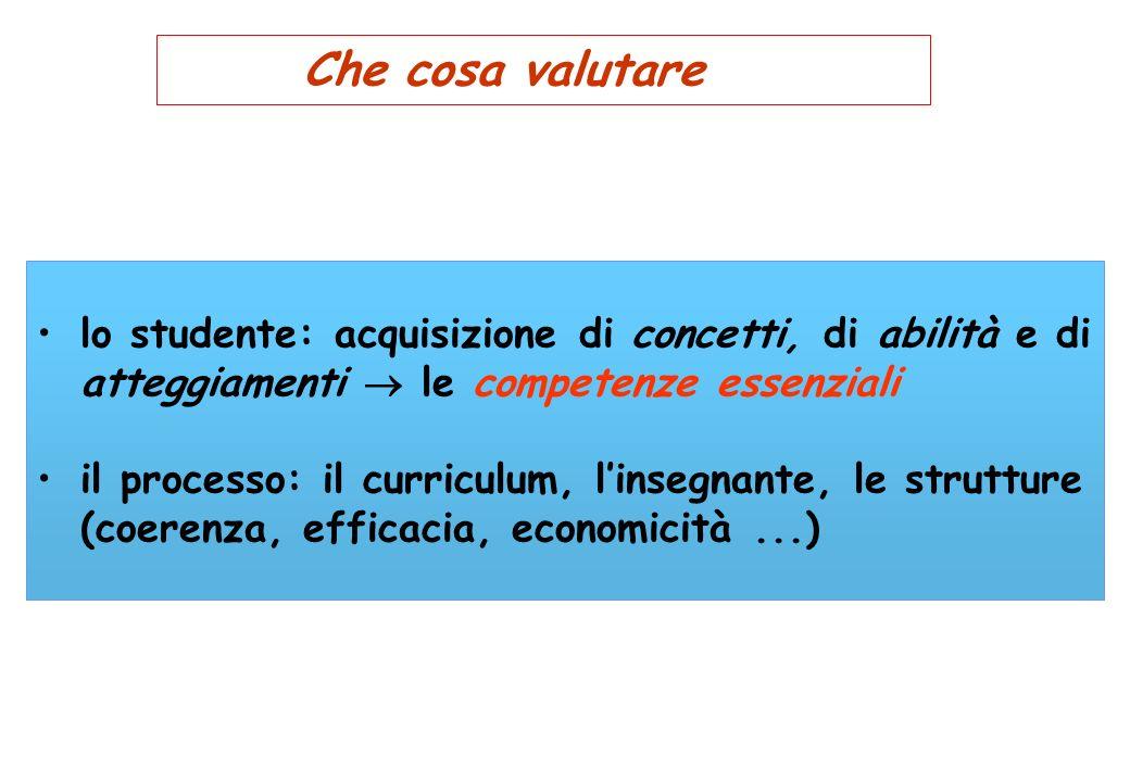 Che cosa valutare lo studente: acquisizione di concetti, di abilità e di atteggiamenti le competenze essenziali il processo: il curriculum, linsegnant