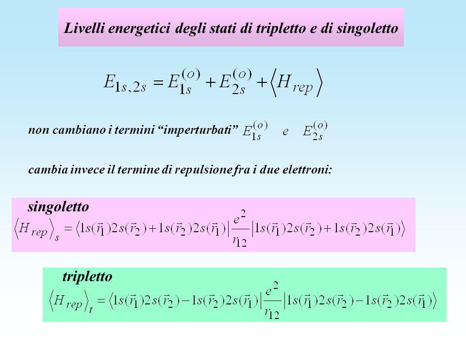 Livelli energetici degli stati di tripletto e di singoletto tripletto singoletto non cambiano i termini imperturbati cambia invece il termine di repul